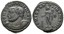 Constantius I (Caesar, 293-305), Follis, Lugdunum, 301-3, 9.59g, 28mm. Laureate and cuirassed bust left, holding sceptre over shoulder and shield / Ge...