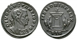 Divus Constantius I (died 306), Follis, Treveri, 307-8, 6.43g, 27mm. Laureate, veiled and mantled bust right / Lighted and garlanded altar flanked by ...