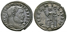 Constantius I (305-306), Follis, Ticinum, AD 305. Laureate head right / Fides seated left, holding standard in each hand; •//ST. RIC VI 55a. Near Extr...