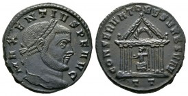 Maxentius (307-312), Follis, Ticinum, AD 307, 7.66g, 26mm. Laureate head right / Roma seated facing, head left, holding globe and sceptre, within hexa...