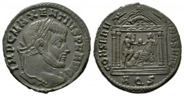 Maxentius (307-312), Follis, Aquileia, AD 307, 7.10g, 25mm. Laureate head right / Roma, holding spear, seated left on shield, presenting globe to Maxe...
