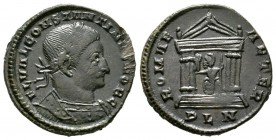 Constantine I (Caesar, 306-309), Londinium, c. summer AD 307, 6.47g, 25mm. Laureate and cuirassed bust right / Roma seated facing, head left, in hexas...