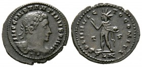 Constantine I (307/310-337), Follis, Londinium, AD 310, 4.21g, 25mm. Laureate and cuirassed bust right / Sol standing left, raising right hand, holdin...
