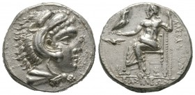 Cyprus , Kings of Macedon, Alexander III 'the Great' (336-323 BC), Tetradrachm, Soloi, c. 325-323 BC, 16.97g, 27mm. Head of Herakles left, wearing lio...