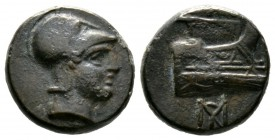 Kings of Macedon, Demetrios I Poliorketes (306-283 BC), Æ, Salamis, 4.29g, 14mm. Helmeted head of Athena right / Prow right; monogram below. Newell, D...