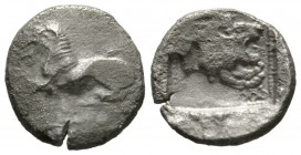 Cyprus, Amathos, c. 450-400 BC, Tetrobol, 3.18g, 14mm. Lion laying left / Forepart of lion right. SNG Cop. -; cf. BMC 2 (Diobol). About Very Fine, str...
