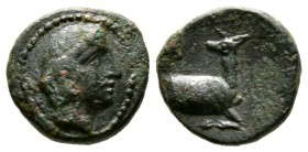 Cyprus, Curium, Uncertain King, c. 350-333 BC, Æ, 11mm. Head of Apollo right / three-quarters stag advancing right, head left, 1.84g, 11mm. Coins From...