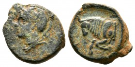 Cyprus, Salamis, Evagoras II (361-351 BC), Æ, 2.20g, 13mm. Head of Athena left wearing crested helmet / Forepart of bull left. SNG Cop. 60; BMC 75. Ne...