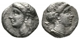 Cyprus, Salamis, Pnytagoras (351-332 BC), Tetrobol, 2.00g, 11mm. Head of Aphrodite left / Head of Artemis right. SNG Cop. 61; BMC 83. About Very Fine