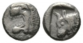 Cyprus, Soloi, c. 480 BC, Tetrobol, 3.29g, 14mm. Head of roaring lion left / Bull head left. SNG Cop. -; cf. BMC pl XIII, 7-8 (head of bull right). Po...