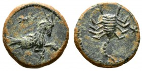 Cyprus, Uncertain, Pseudo-autonomous issue, time of Augustus(?), 27 BC-AD 14, Æ, 2.95g, 16mm. Capricorn right; star above / Scorpion; star to right. A...