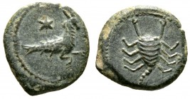 Cyprus, Uncertain, Pseudo-autonomous issue, time of Augustus(?), 27 BC-AD 14, Æ, 2.82g, 17mm. Capricorn right; star above / Scorpion; star to right. A...