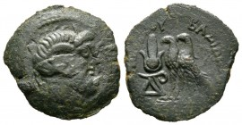 Ptolemaic Kings of Egypt, time of Ptolemy VIII-X (145-88 BC), Obol, Uncertain mint on Cyprus, 5.85g, 24mm. Head of Zeus-Ammon right / Two eagles stand...