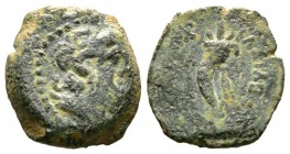 Ptolemaic Kings of Egypt, Cleopatra III and Ptolemy IX Soter II (116-107 BC), Æ, Kyrene, 2.60g, 15mm. Diademed head of Zeus-Ammon right / Double cornu...