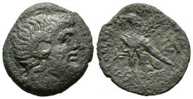 Ptolemaic Kings of Egypt, Cleopatra VII Philopator (51-30 BC), Obol, Uncertain mint on Cyprus(?), 6.98g, 25mm. Head of Zeus-Ammon right / Eagle with c...