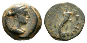 Ptolemaic Kings of Egypt, Cleopatra VII Philopator (51-30 BC), Dichalkon, Paphos, 1.41g, 9mm. Diademed and draped idealized bust right / Double cornuc...