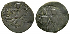 Isaac Comnenus (Usurper in Cyprus, 1185-1191), Tetarteron, secondary mint on Cyprus, 1187-1191(?), 3.45g, 21mm. Christ Emmanuel seated facing on thron...