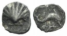 Southern Apulia, Tarentum, c. 325-280 BC. AR Hemilitron (10mm, 0.39g, 11h). Shell. R/ Dolphin leaping r.; below, hare r. (?). Vlasto 1596; HNItaly 980...