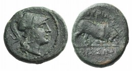 Southern Lucania, Thourioi, after 300 BC. Æ (17mm, 4.08g, 3h). Helmeted head of Athena r. R/ Bull butting r. HNItaly 1920. Rare, green patina, VF