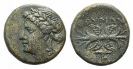 Southern Lucania, Thourioi, c. 280-213 BC. Æ (14mm, 3.19g, 9h). Laureate head of Apollo l. R/ Winged thunderbolt; monogram below. HNItaly 1927; SNG Co...