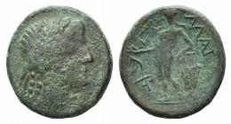 Sicily, Alaisa Archonidea, c. 208-186 BC. Æ (18mm, 4.88g, 12h). Laureate head of Apollo r. R/ Apollo standing l., holding laurel branch and leaning on...