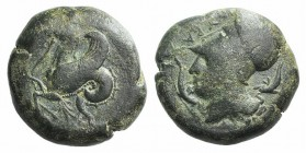 Sicily, Syracuse, 400-390 BC. Æ Litra (20mm, 8.74g, 12h). Head of Athena l., wearing Corinthian helmet decorated with wreath; around, dolphins. R/ Hip...