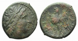 Sicily, Syracuse, c. 283-279 BC. Æ Litra (20mm, 6.54g, 3h). Laureate head of Zeus Hellanios r. R/ Eagle standing l. on thunderbolt. CNS II, 168; SNG A...