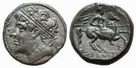 Sicily, Syracuse, c. 275-215 BC. Æ (26mm, 18.82g, 6h). Diademed head l. R/ Horseman riding r., holding spear; Σ below. CNS II 195; SNG ANS 929. Brown ...