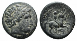 Kings of Macedon, Philip II (359-336 BC). Æ Unit (19mm, 5.69g, 12h). Uncertain mint in Macedon. Diademed head of Apollo r. R/ Youth on horseback ridin...