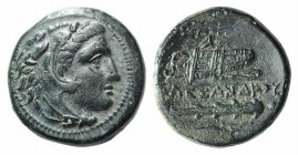 Kings of Macedon, Alexander III 'the Great' (336-323 BC). Æ Unit (17mm, 5.58g, 3h). Miletos, 323-319. Head of Herakles r., wearing lion skin. R/ Bow i...