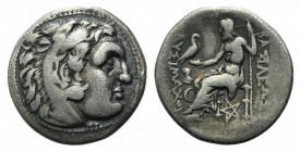 Kings of Thrace, Lysimachos (305-281 BC). (336-323 BC). AR Drachm (16mm, 3.83g, 12h). In the types of Alexander III of Macedon. Kolophon, c. 299/8-297...