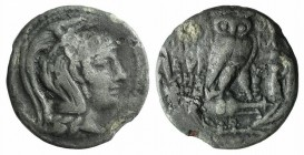 Attica, Athens, c. 139-138 BC. AR Tetradrachm (29mm, 12.76g, 12h). New Style Coinage. Herakleides, Eukles and Euboulos, magistrates. Helmeted head of ...