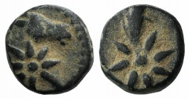 Pontos, Uncertain, c. 130-100 BC. Æ (10mm, 1.94g, 9h). Head of horse r., with star of eight points on its neck. R/ Comet star of eight points with tra...