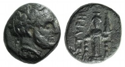 Mysia, Astyra. Tissaphernes (c. 400-395 BC). Æ (10mm, 2.26g, 5h). Bare head r. R/ Cult statue of Artemis Astyra. SNG BnF 124A. Green patina, VF