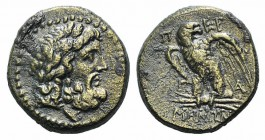 Mysia, Pergamon, c. 200-133 BC. Æ (21mm, 7.12g, 12h). Laureate head of Asklepios r. R/ Eagle standing l. on thunderbolt, head r., wings spread. SNG Bn...