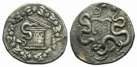 Mysia, Pergamon, c. 166-67 BC. AR Cistophoric Tetradrachm (28mm, 12.59g, 12h), c. 76-67 BC. Cista mystica with serpent; all within ivy wreath. R/ Two ...