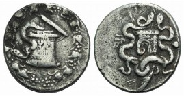 Mysia, Pergamon, c. 166-67 BC. AR Cistophoric Tetradrachm (26mm, 12.25g, 12h). Cista mystica with serpent; all within ivy wreath. R/ Bow case with ser...