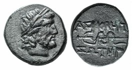 Mysia, Pergamon, c. 133-27 BC. Æ (14mm, 3.48g, 5h). Laureate head of Asklepios r. R/ Serpent-entwined staff of Asklepios. SNG BnF 1828-48. VF