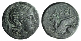 Troas, Assos, 4th-3rd century BC. Æ (14.5mm, 3.73g, 1h). Helmeted head of Athena r. R/ Griffin seated l. SNG München 157; SNG Copenhagen 228-40 var. (...