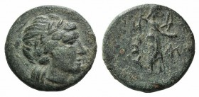 Troas, Hamaxitos, 4th century BC. Æ (14mm, 2.47g, 12h). Laureate head of Apollo r. R/ Apollo Smintheos standing r., holding bow and phiale; monogram t...