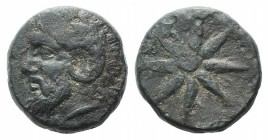 Troas, Thymbria, 4th century BC. Æ (14mm, 4.46g). Laureate head of Zeus Ammon l. R/ Star of eight rays. SNG München 336; SNG Copenhagen –; SNG von Aul...