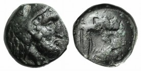 Ionia, Erythrai, c. 480-400 BC. Æ (8mm, 0.97g, 3h). Head of Herakles r., wearing lion skin. R/ Forepart of bull r.; club to l. SNG von Aulock 1946; SN...