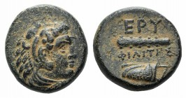 Ionia, Erythrai, c. 280-270 BC. Æ (11mm, 2.19g, 3h). Philites, magistrate. Head of Herakles r., wearing lion skin. R/ Club and bow-in-bowcase. Cf. SNG...