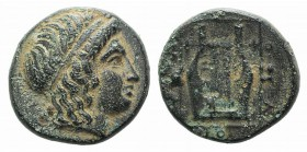 Ionia, Kolophon, c. 400-375 BC. Æ Chalkous (11mm, 1.83g, 1h). Head of Apollo r., wearing tainia. R/ Kithara within linear square; astragaloi to l. and...