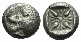Ionia, Miletos, late 6th-early 5th century BC. AR Diobol (7mm, 1.21g). Forepart of a lion r., head l. R/ Stellate design within square incuse. SNG Kay...
