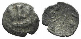 Celtic, Durotriges. Uninscribed, c. 45-40 BC. AR Quarter Stater (12mm, 0.78g, 12h). Three appendages hang from crescent. R/ Zigzag decorated with line...
