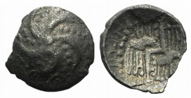Celtic, Durotriges. Uninscribed, c. 40-20 BC. AR Quarter Stater (12mm, 0.85g). Starfish with five arms; pelleted lines between arms. R/ Zig-zag line b...
