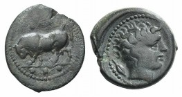 Sicily, Gela, c. 420-405 BC. Æ Tetras (17mm, 3.20g, 2h). Bull standing l., head lowered, in profile, as if to charge; three pellets in exergue. R/ Hea...