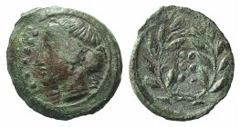 Sicily, Himera, c. 420-407 BC. Æ Hemilitron (17mm, 3.47g, 1h). Head of nymph l.; six pellets before. R/ Six pellets within wreath. CNS I, 35; SNG ANS ...