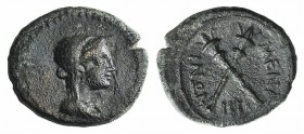 Sicily, Menaion. Roman rule, mid 3rd-2nd century BC. Æ (16mm, 3.88g, 12h). Veiled head of Demeter r. R/ Crossed torches; IIII below. CNS III, 7; SNG C...